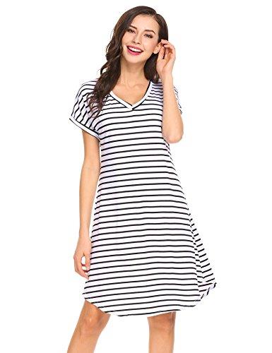 Striped White Horn (pasttry Women's Striped Curved Hem V Neck Short Sleeve Knee Length T-Shirt Tunic Dress,Black,Small)