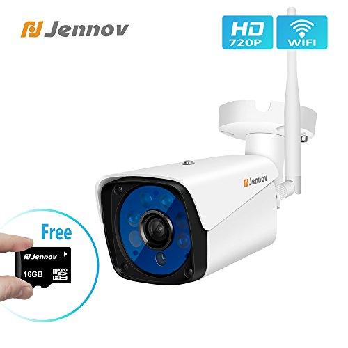 Jennov Wireless Security Camera, 720P Wireless Wifi Bullet IP Camera IP66 Waterproof Outdoor And Home Video Surveillance Camera Pre-installed 16G Micro SD Card Motion Detection Night Vision