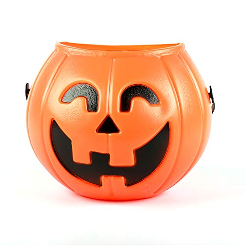 Halloween Pumpkin Candy Bucket Portable Pumpkin Bucket for Children Trick or Treat Bags for Party Favors (Orange) -