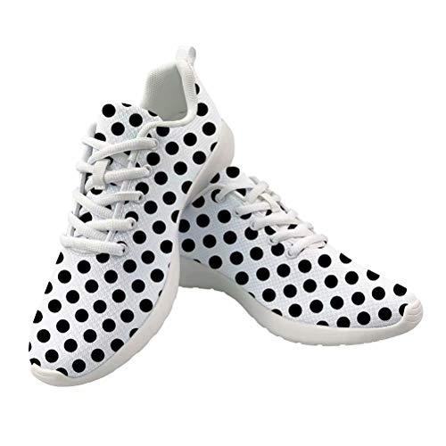 Dellukee Fashion Shoes for Women Men 2019 Black Polka Dot White Casual Non Slip Wide Width Sneakers Black Polka Dot Shoe