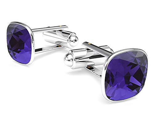 Beforya Paris - Cufflinks - Dark Purple - 925 Sterling Silver - with SQUARE Swarovski - 925 Sterling Silver Beautiful Men's Cufflinks with Gift Box