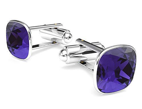 - Beforya Paris - Cufflinks - Dark Purple - 925 Sterling Silver - with SQUARE Swarovski - 925 Sterling Silver Beautiful Men's Cufflinks with Gift Box