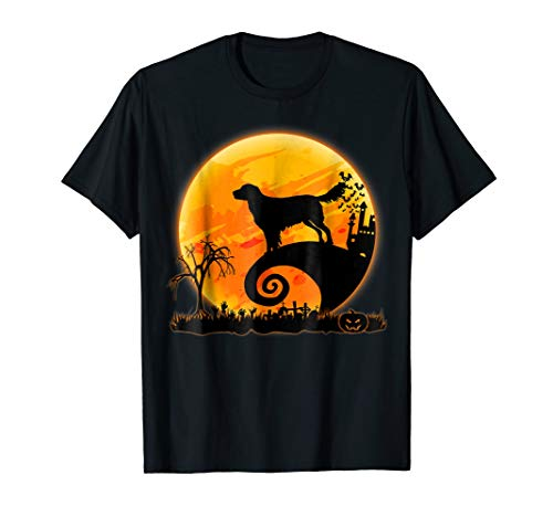 Flat-Coated Retriever Dog And Moon Funny Halloween T-Shirt