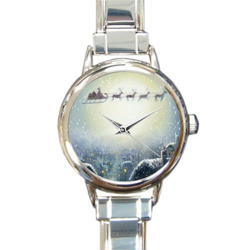 Personalized Watch Father Christmas with Reindeer in the Sky Round Italian Charm stainless steel Watch
