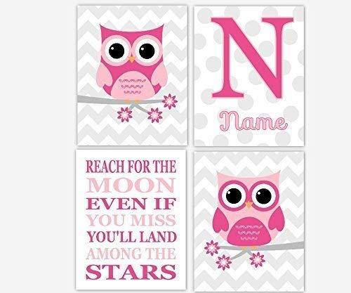 Amazoncom Baby Girl Nursery Art Pink Gray Owl Personalized