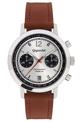 Gigandet Men's Quartz Watch Tramelan Chronograph Vintage Design Analog Leather Strap Silver Brown G10-004