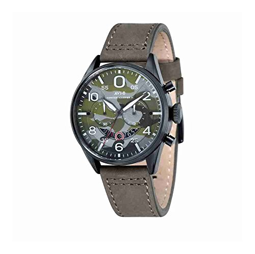 AVI-8 AV-4031-08 Mens Hawker Harrier II Army Green Leather Strap Chronograph Watch