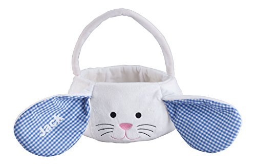 Miles Kimball Personalized Kids Easter Basket, Plush White Bunny with Floppy Gingham Ears