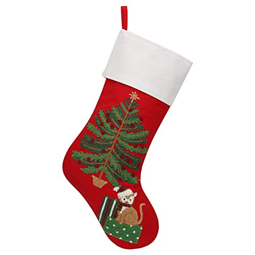 Alice Doria 21 Crewel Stitch Embroidery Christmas Stocking with Cat Sitting Under Christmas Tree Pattern ...