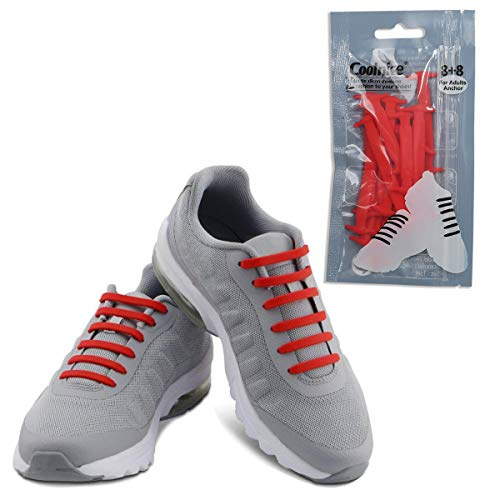 Coolnice No Tie Shoelaces for Adults-Waterproof & Stretchy Silicone Flat Elastic Running Shoe Laces with Multicolor for Athletic Sneaker Boots Board Shoes Dress and Casual Shoes-Red