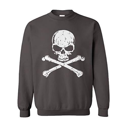 (Tcombo Skull and Crossbones - Badass Unisex Crewneck Sweatshirt (Charcoal, XX-Large))