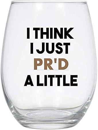 I Think I just PR'd a Little Wine Glass, Copa de vino de ejercicio, Copa de vino para levantamiento de pesas, Copa de vino de entrenamiento divertido, PR