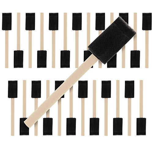 US Art Supply 1 inch Foam Sponge Wood Handle Paint Brush Set (Value Pack of 25) - Lightweight, durable and great for Acrylics, Stains, Varnishes, Crafts, Art