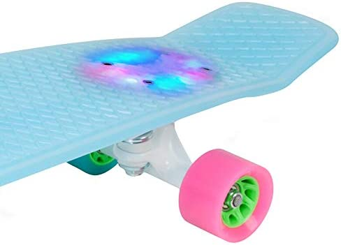 HUDORA 12144 Plastic Skateboard 28/'/' Complete Skate Board Blue ABEC-7 Cruiser with LED Light Up Deck for Kids Boys Youths Beginners
