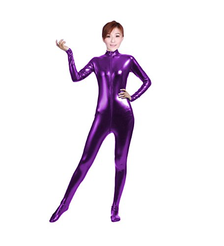 Circus Acrobat Halloween Costume (WOLF UNITARD Shiny Metallic Unitard Bodysuit Catsuit Large Purple)