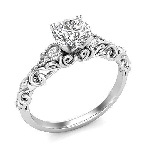 (14K White Gold Vintage Engagement Ring Filigree Milgrain Art Deco Ring Forever One Colorless Moissanite Center)