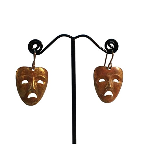 Tragedy Face Mask Brass Drop Earrings, Sad, Scary, Scared, Actors Symbol, Hypoallergenic, Nickle Free