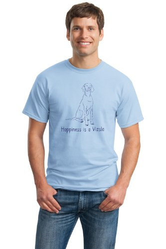 HAPPINESS IS A VIZSLA, Blue Adult Unisex T-shirt / Dog Owner & Lover Tee