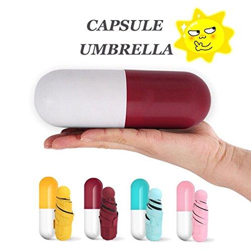 Connoworld Portable Cute Mini Capsule Umbrella Anti-UV Sun Umbrella,Ultra Lightweight Windproof Folding Compact Pocket Umbrella