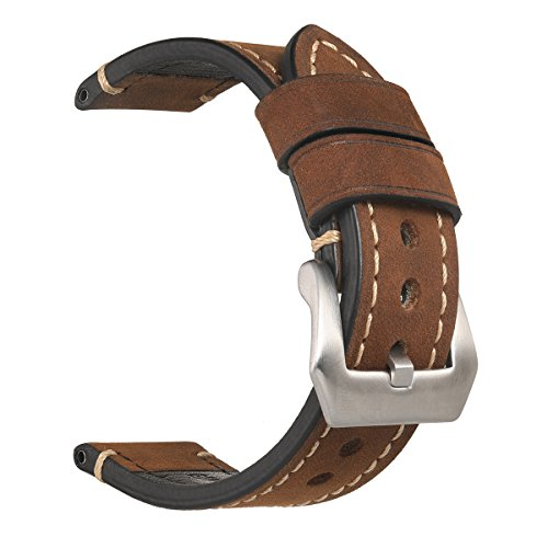 Mens Watch Band,EACHE Crazy Horse Genuine Leather Handmade Watchband,Silver Hardware Dark Brown 22mm