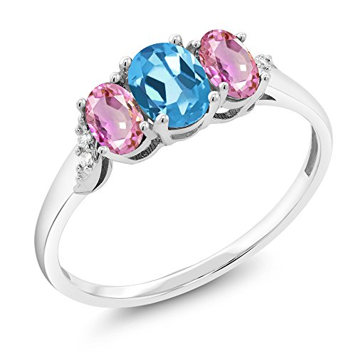 10K White Gold 1.07 Ct Swiss Blue Topaz Pink Sapphire 3-Stone Ring With Accent Diamond