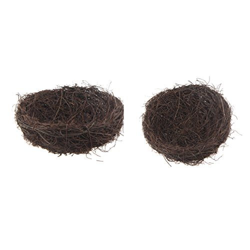 Emours Natural Bird Nest Woven Vine Bird Finch House Bedding ,2 Pack