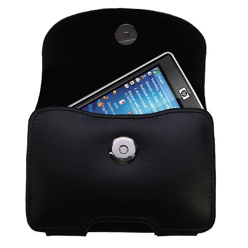 Gomadic Brand Horizontal Black Leather Carrying Case for the HP iPaq 211 with Integrated Belt Loop and Optional Belt Clip