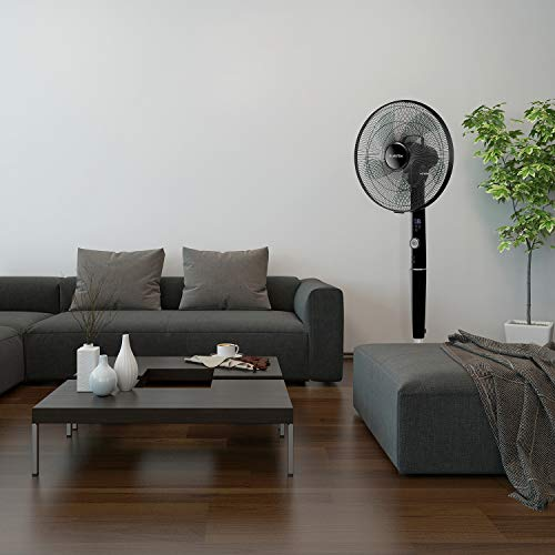 KLARSTEIN Silent Storm Pedestal Fan • Oscillating and Adjustable Height • Quiet Operation • 12 Speed Settings • Digital Remote Control • 5 Operation Modes • Black