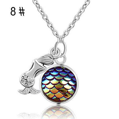 (Werrox one Mermaid Fish Scale Charm Pendant Rainbow Holographic Sequins Chain Necklace | Model NCKLCS - 22869)