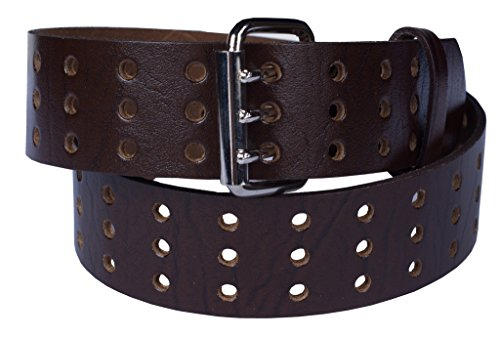 3 Grommet Holes Belt 100% Top Grain One Pc. Leather, up to Size 54, Made in USA (42-44 XL, brown) ...