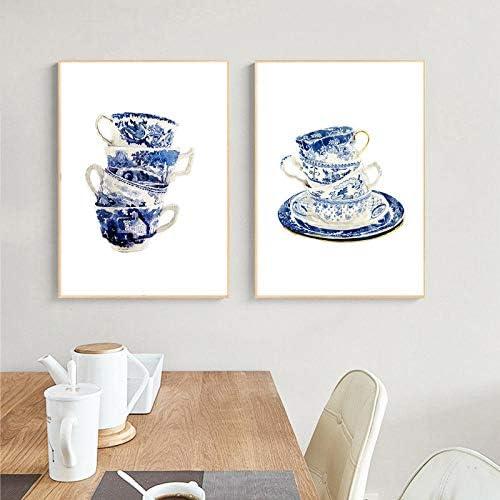 ヴィンテージティーカップ水彩アートプリントブルーホワイトウィローティーカップアートキャンバス絵画壁アート写真ポスター家の装飾50