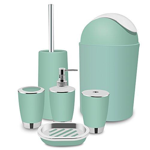 TEKITSFUN 6 Piece Plastic Bathroom Accessory Set, Luxury Bath Accessory Gift, Soap Dispenser, Lotion Dispenser, Soap Bar Holder, Tooth Brush Holder, Trash Can, Toilet Brush Set, Rinse Cup-Mint (Set Rinse)