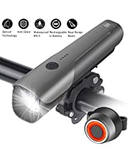 Bike Lights Set, YVLINES Near Range Beam Bicycle Light with IPX5 Waterproof CREE LED 600Lumen Front Light & IPX4 Taillights, 2600mAh Rechargeable Battery USB Rechargeable Bicycle Lamp Set