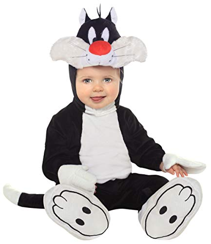 Looney Tune Costumes (Looney Tunes Sylvester Romper Costume, White/Black, 12-18)