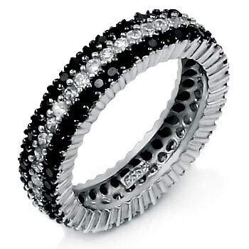 Womens 925 Sterling Silver CZ Three Lines Black /& White 6mm Ring 7