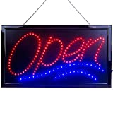 Large LED Open Sign for Business Displays: Jumbo Light Up Sign Open with 2 Flashing Modes - Electronic Lighted Signs for Bars, Liquor Stores - No use of Toxic Neon (24 x 13 inches, Model 1)