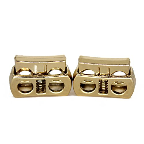 Metal Shoelaces Lock for Sneakers and Clothes Double Holes Golden Color 0.4CM (Gold Double Lace)