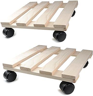 Planta Roller de madera, 2 unidades, 30 cm x 30 cm rectangular con ruedas de plástico, Capacidad de Carga 120 kg, Madera de Roller para macetas o decoración ...