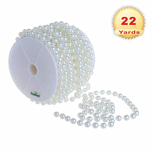 PMLAND Large 10mm Pearls Chain of Sheen White Crystal Beads (66 ft ()