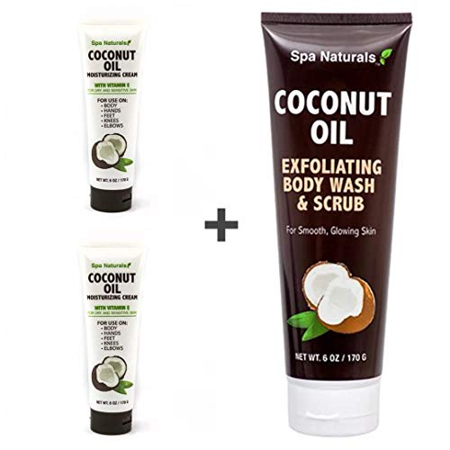 - Spa Naturals Coconut Oil - Exfoliating Body Wash & Scrub and Moisturizing Cream with Vitamin E - Set of 3