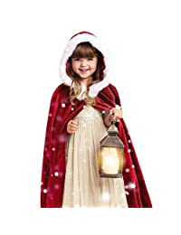 Christmas Costume Hosamtel Kids Childrens' Hooded Santa Cosplay Cape Robe