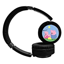 Cute Pink Peppa Pig Bluetooth Headphone Surround Sound Gaming Headset for PC Playstation 4 On Cable Controls Sports Performance Ear Pads Rotating Ear Cups Light Weight Design