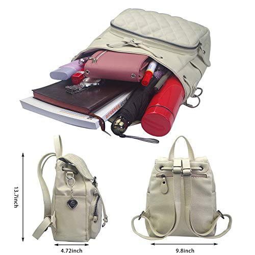 Alice PU Leather Off White Backpack for Women