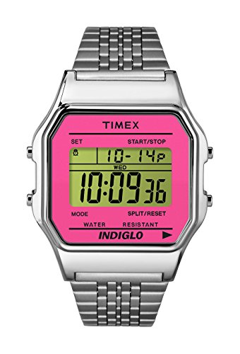 (Timex 80 TW2P65000 Stainless Steel Pink Digital WR 30m Quartz Women's Watch)