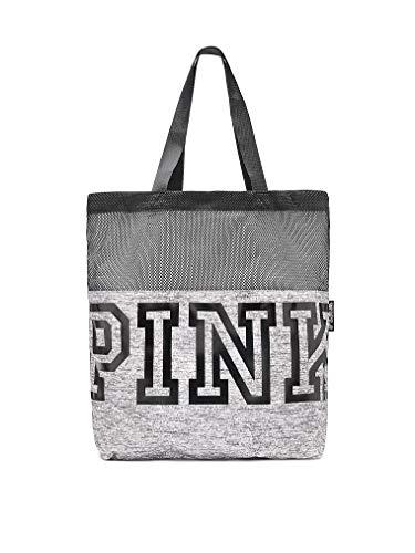 Victoria's Secret Pink Nation Black Mesh Grey Marl Logo Tote