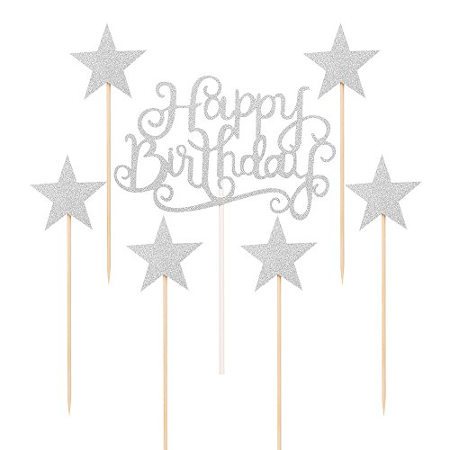 LXZS-BH Silver Glitter Happy Birthday Cake Toppers and Five-pointed star,Cake Smash Birthday Party Decorations Set Of 7 (Birthday Cake Star)