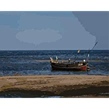 ABEUTY DIY Paint by Numbers for Adults Beginner - Boat in The Sea 16x20 inches Number Painting Anti Stress Toys (No Frame)