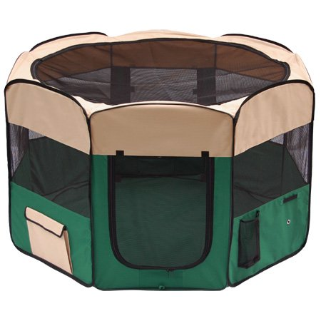 """XL 57"""" Dia. x 36½"""" H Octagon Pet Playpen Dog Puppy Exercise Pen Canine Train Kennel Green w/ Mesh Cover Panels Zip Doors Case Home Outdoor Waterproof Portable"""
