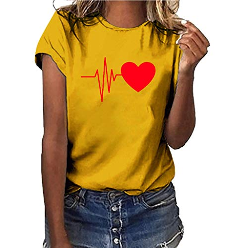 (GHrcvdhw Women Plus Size Heart-Shaped Electrocardiogram Print Shirt Solid Multicolor Short Sleeve Girl T Shirt Tops)