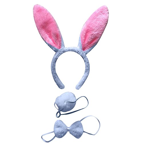 Mwfus 3pcs Long Rabbit Ears Halloween Costume Bunny Headband Bowtie Tail Accessories Set